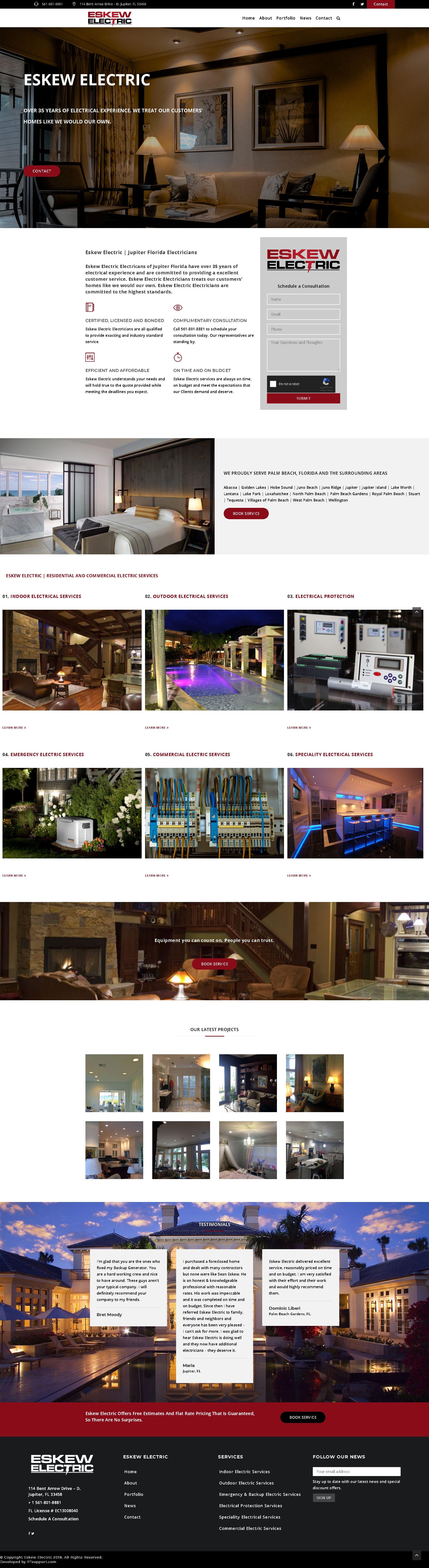 Eskew Electric | PTsupport Website Development
