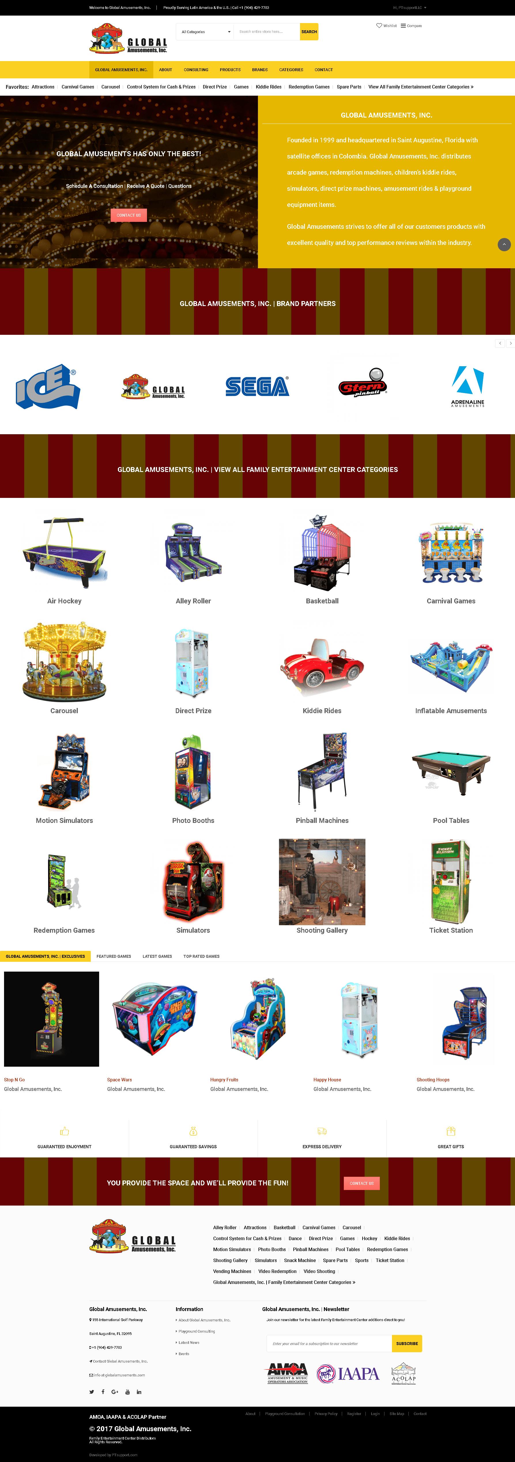 Global Amusements, Inc. | PTsupport.com Web Development, Design, SEO, Branding